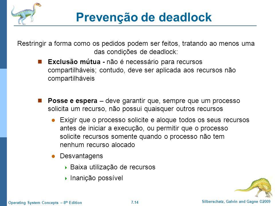 Prevenção de deadlock Restringir a forma como os pedidos podem ser feitos, tratando ao menos uma das condições de deadlock: