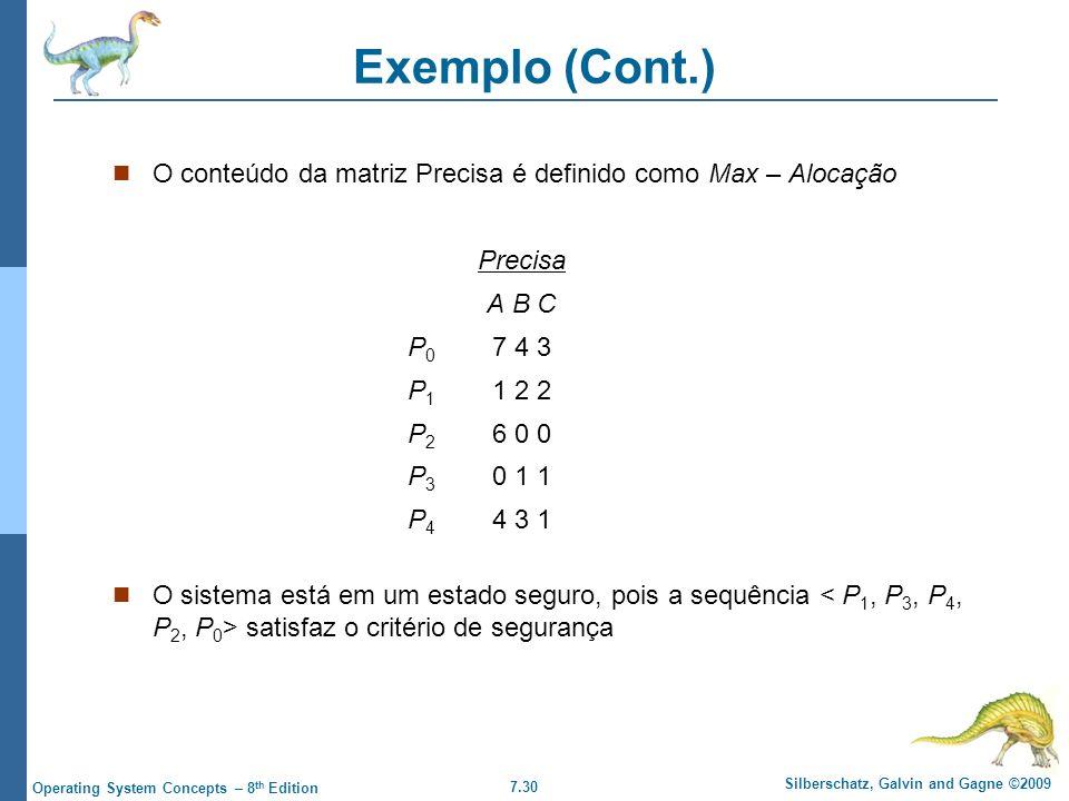 Exemplo (Cont.) O conteúdo da matriz Precisa é definido como Max – Alocação. Precisa. A B C. P0 7 4 3.
