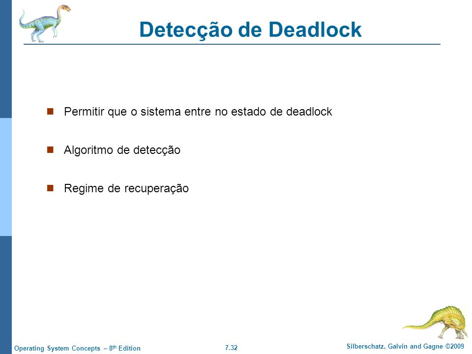 Detecção de Deadlock Permitir que o sistema entre no estado de deadlock.