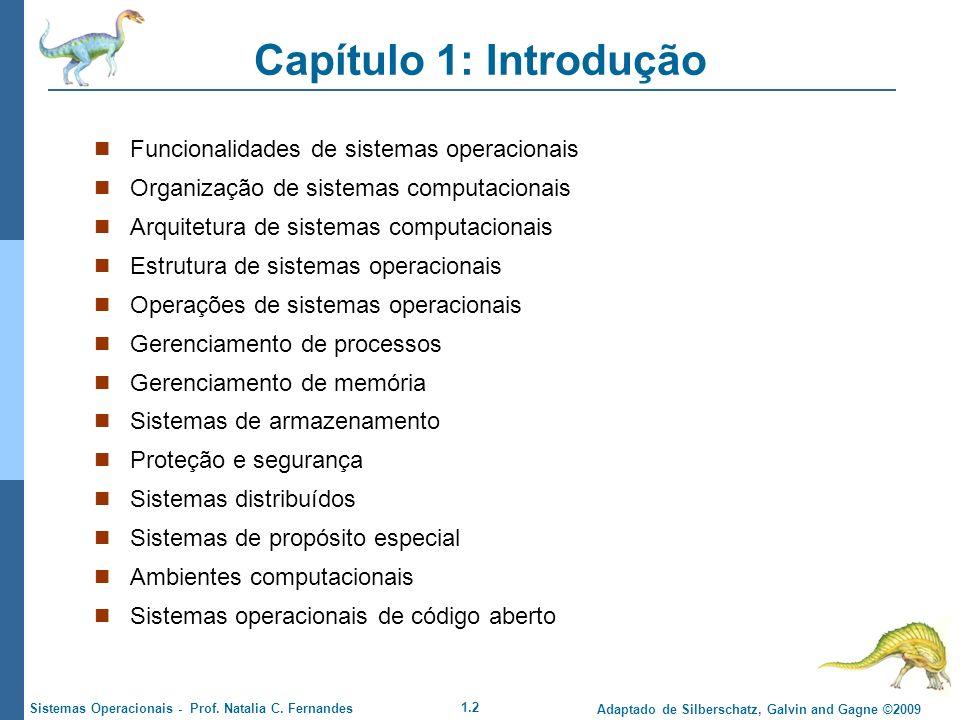Capítulo 1: Introdução Funcionalidades de sistemas operacionais
