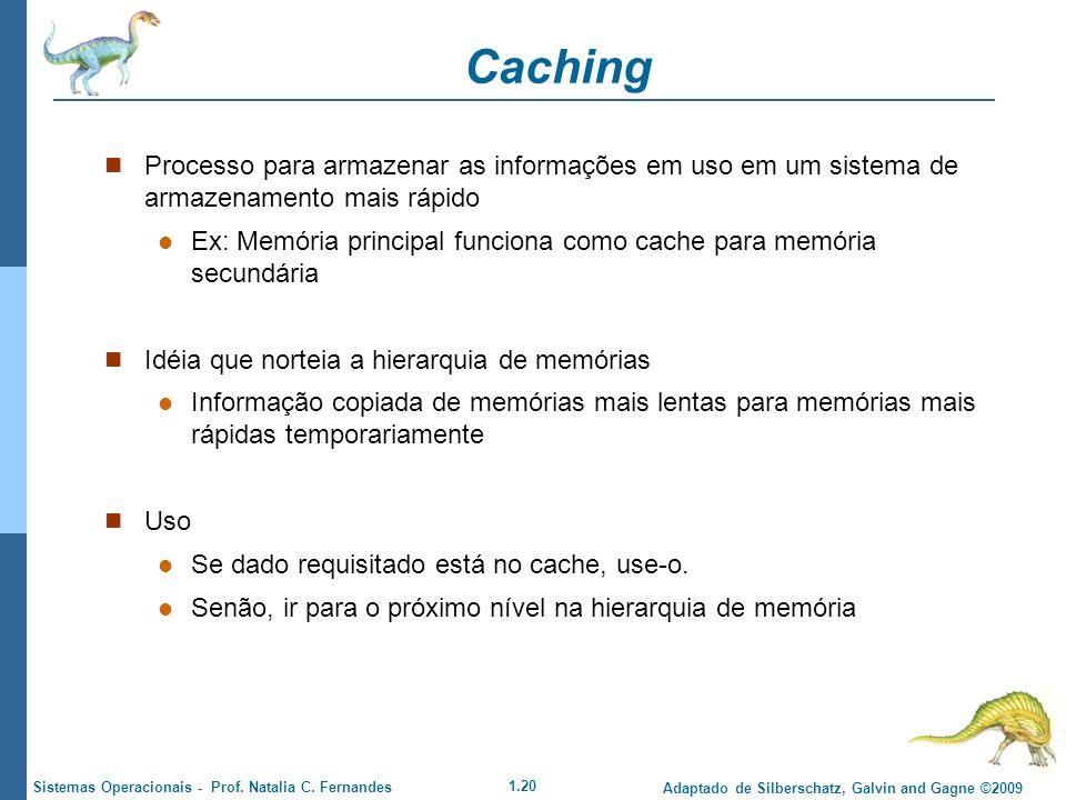 Caching Processo para armazenar as informações em uso em um sistema de armazenamento mais rápido.