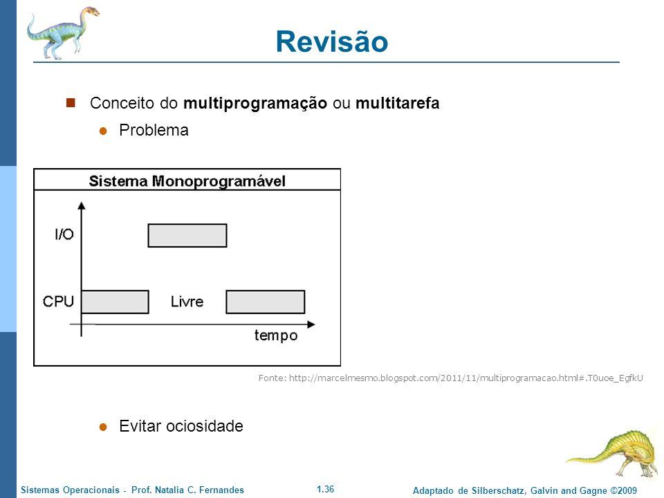 Revisão Conceito do multiprogramação ou multitarefa Problema