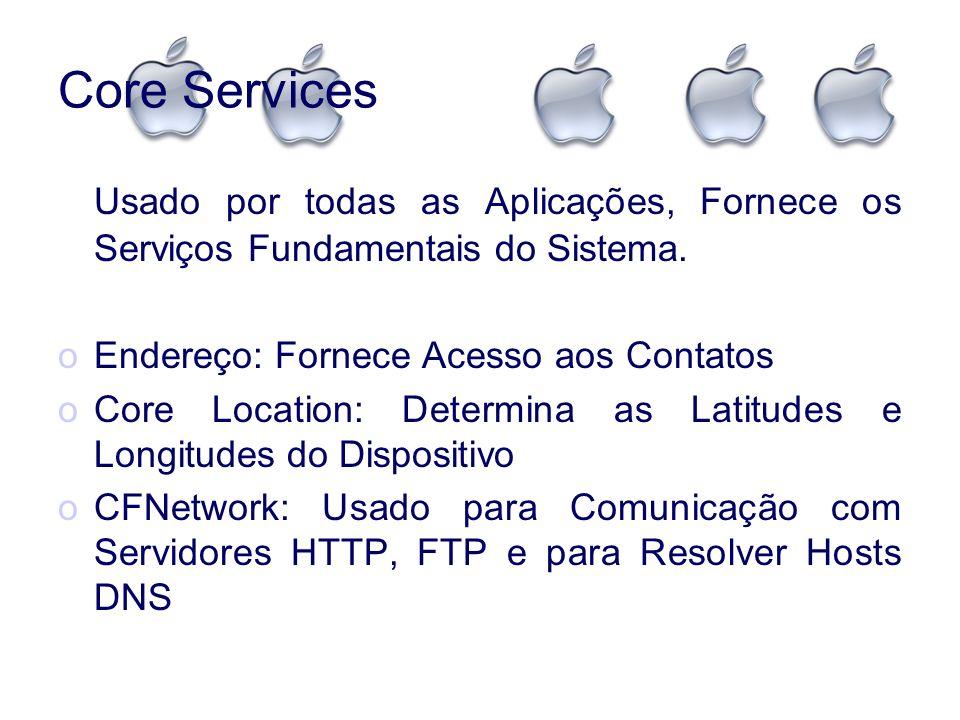 Core Services Usado por todas as Aplicações, Fornece os Serviços Fundamentais do Sistema. Endereço: Fornece Acesso aos Contatos.