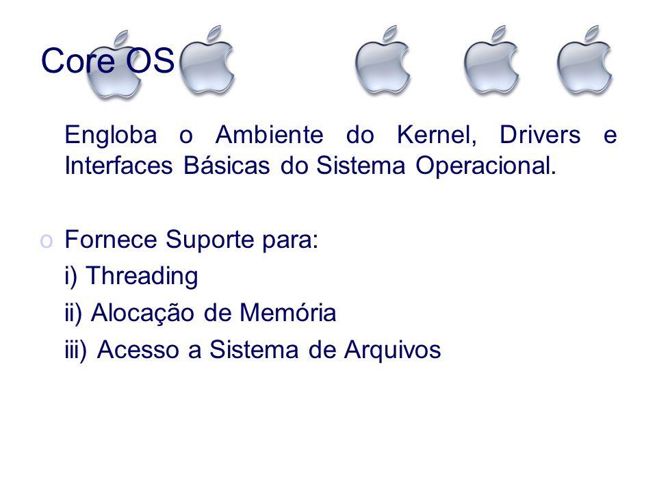 Core OSEngloba o Ambiente do Kernel, Drivers e Interfaces Básicas do Sistema Operacional. Fornece Suporte para: