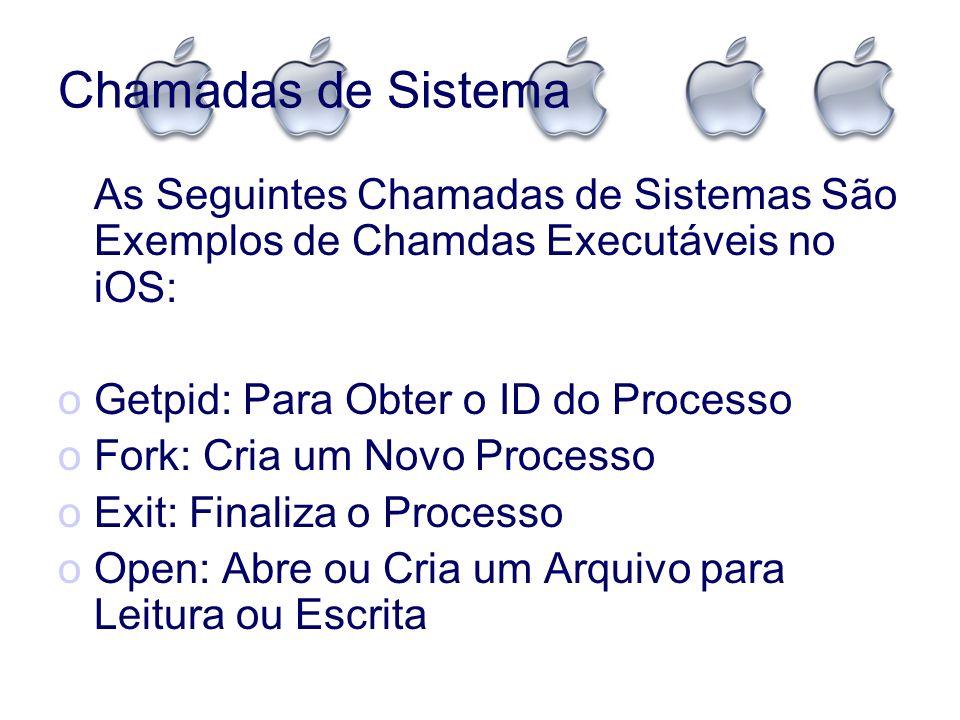 Chamadas de Sistema As Seguintes Chamadas de Sistemas São Exemplos de Chamdas Executáveis no iOS: Getpid: Para Obter o ID do Processo.