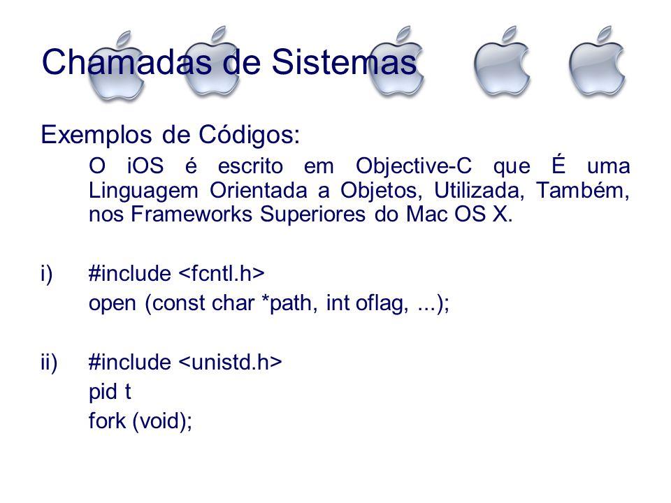 Chamadas de Sistemas Exemplos de Códigos: