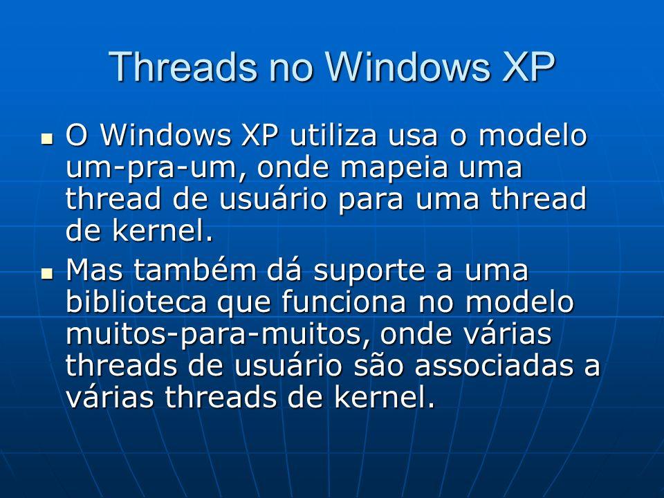 Threads no Windows XP O Windows XP utiliza usa o modelo um-pra-um, onde mapeia uma thread de usuário para uma thread de kernel.
