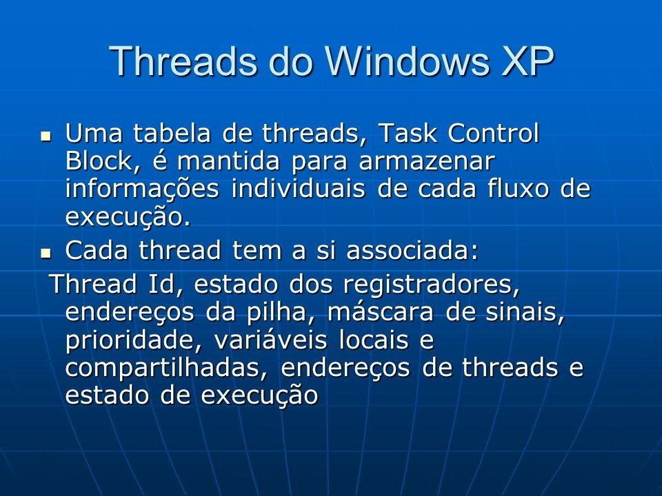 Threads do Windows XPUma tabela de threads, Task Control Block, é mantida para armazenar informações individuais de cada fluxo de execução.