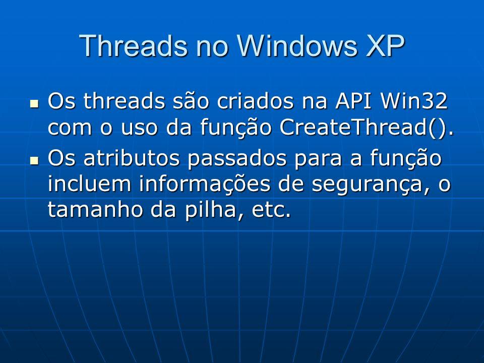 Threads no Windows XP Os threads são criados na API Win32 com o uso da função CreateThread().