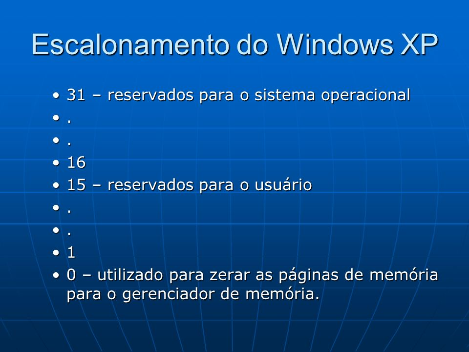 Escalonamento do Windows XP