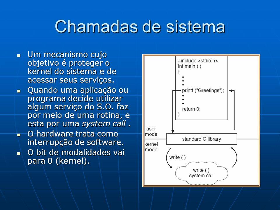 Chamadas de sistema Um mecanismo cujo objetivo é proteger o kernel do sistema e de acessar seus serviços.