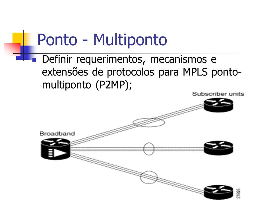 Ponto - Multiponto Definir requerimentos, mecanismos e extensões de protocolos para MPLS ponto-multiponto (P2MP);