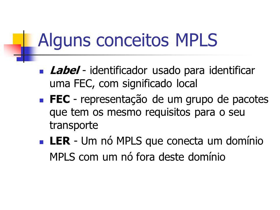 Alguns conceitos MPLS Label - identificador usado para identificar uma FEC, com significado local.