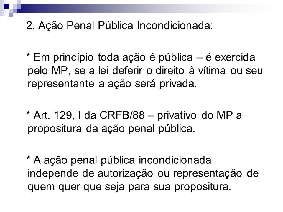 2. Ação Penal Pública Incondicionada: