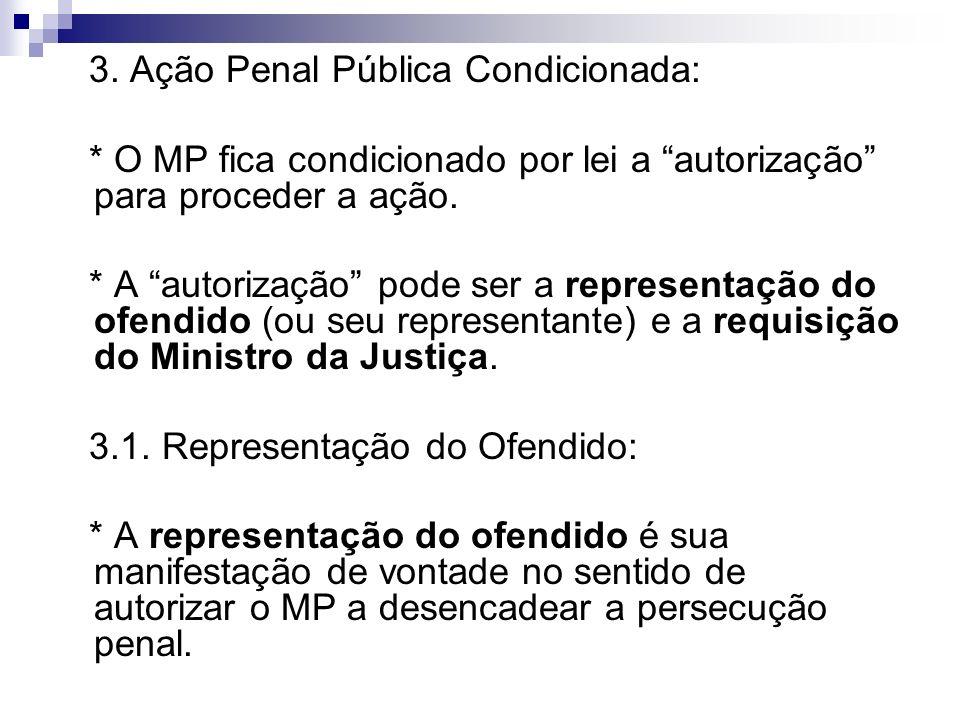 3. Ação Penal Pública Condicionada: