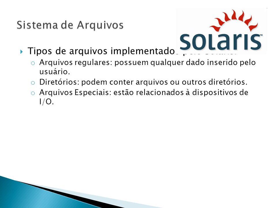 Sistema de Arquivos Tipos de arquivos implementados pelo Solaris: