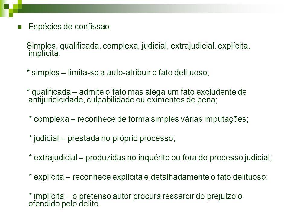 Espécies de confissão: