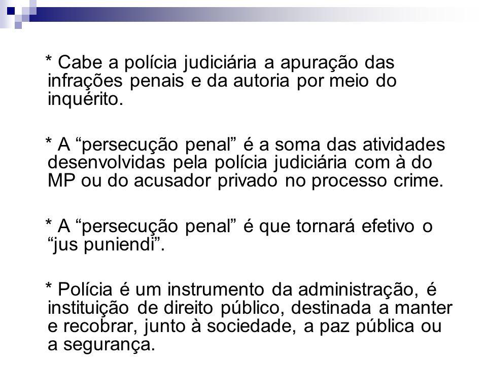 * Cabe a polícia judiciária a apuração das infrações penais e da autoria por meio do inquérito.