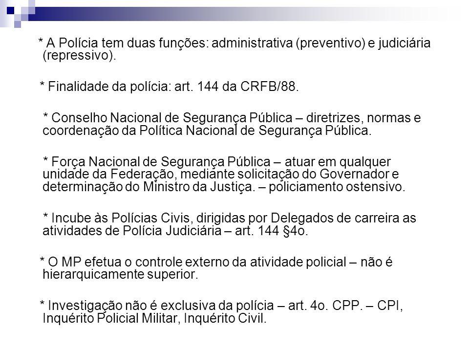 * Finalidade da polícia: art. 144 da CRFB/88.