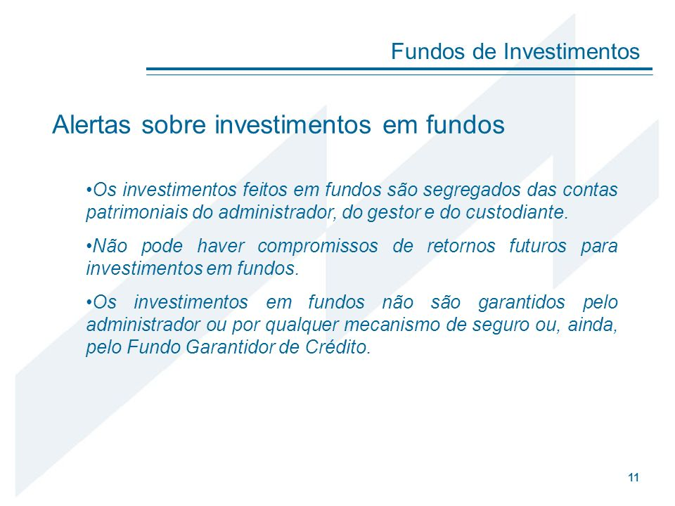 Alertas sobre investimentos em fundos