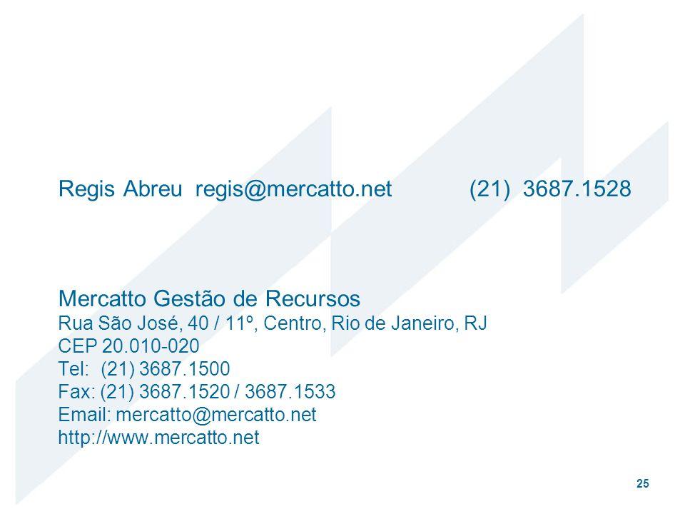 Regis Abreu. regis@mercatto. net. (21) 3687