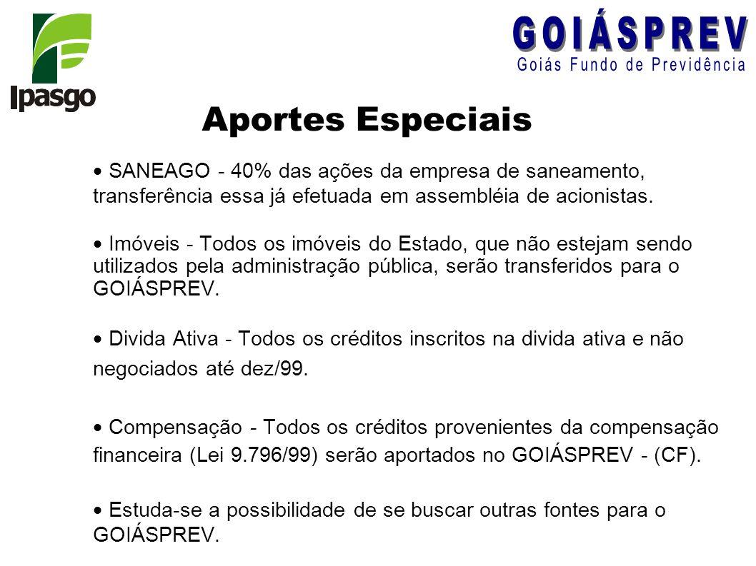 Aportes Especiais SANEAGO - 40% das ações da empresa de saneamento, transferência essa já efetuada em assembléia de acionistas.