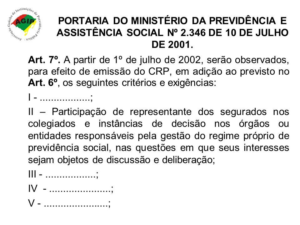 PORTARIA DO MINISTÉRIO DA PREVIDÊNCIA E ASSISTÊNCIA SOCIAL Nº 2