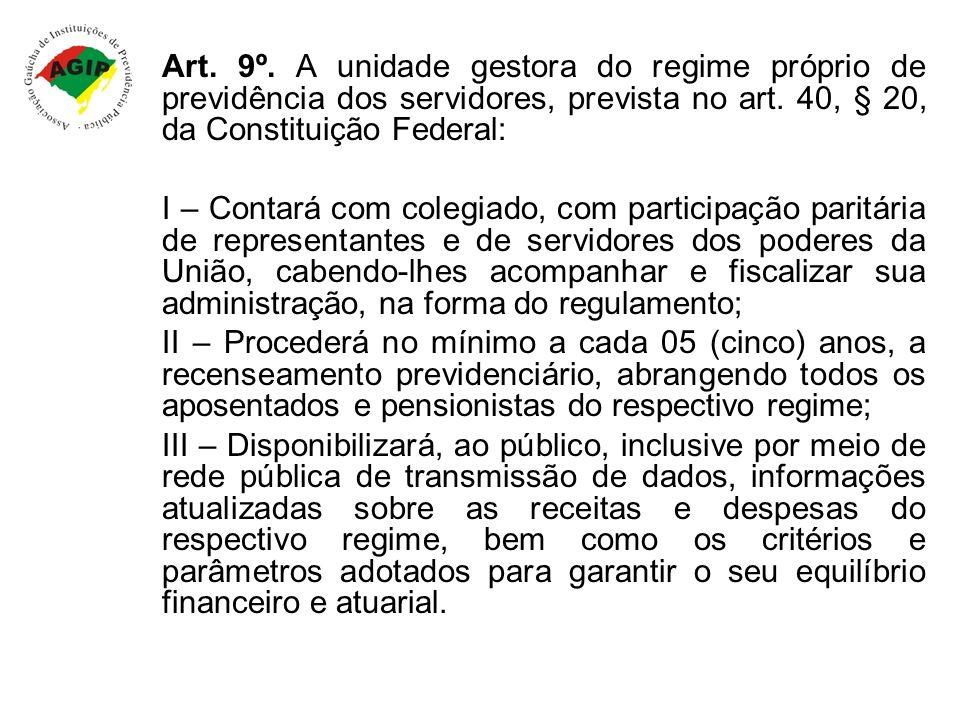 Art. 9º. A unidade gestora do regime próprio de previdência dos servidores, prevista no art. 40, § 20, da Constituição Federal: