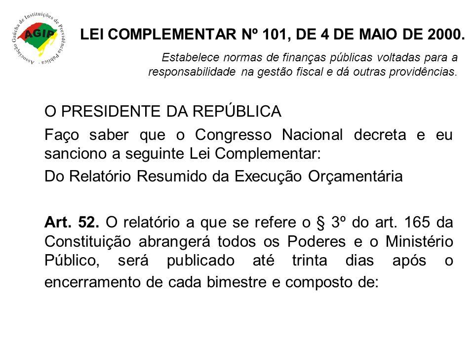 LEI COMPLEMENTAR Nº 101, DE 4 DE MAIO DE 2000.