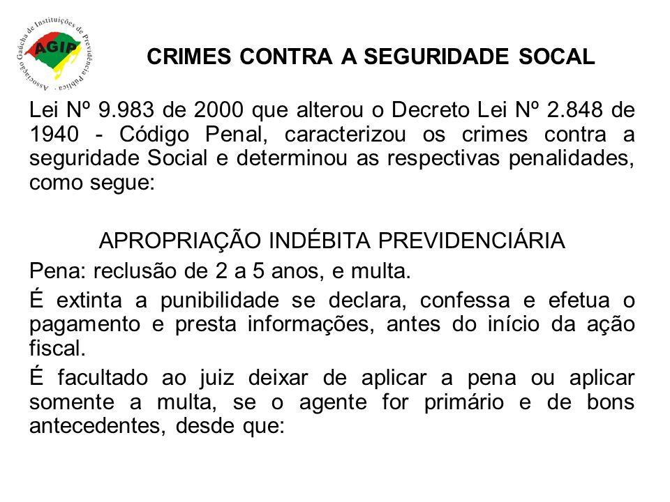 CRIMES CONTRA A SEGURIDADE SOCAL