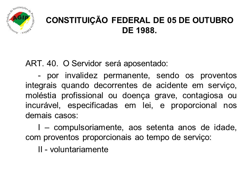 CONSTITUIÇÃO FEDERAL DE 05 DE OUTUBRO DE 1988.