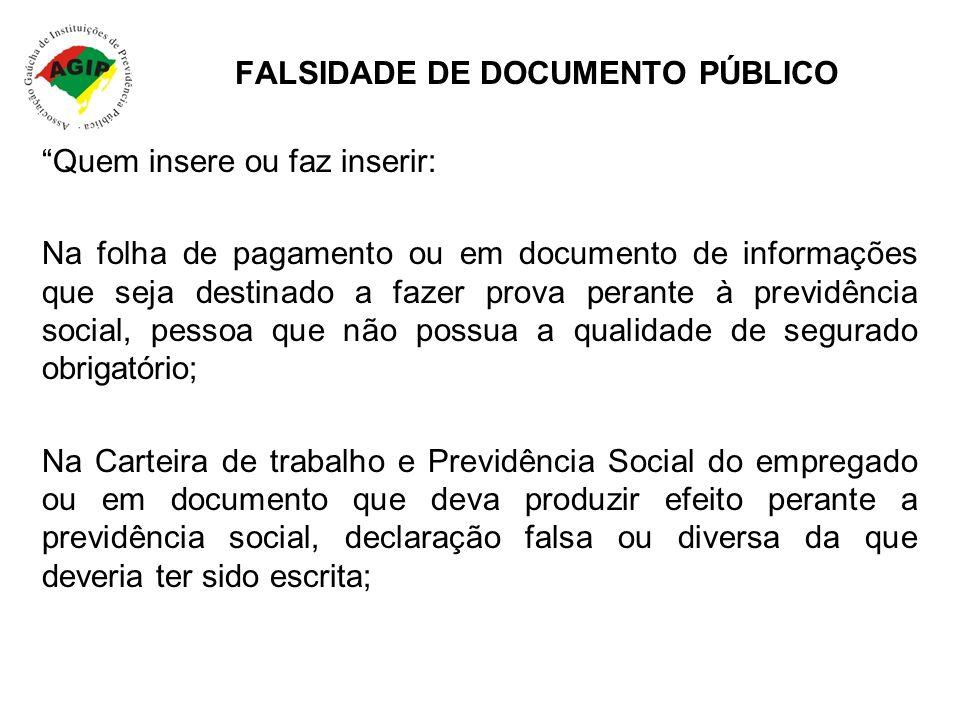 FALSIDADE DE DOCUMENTO PÚBLICO