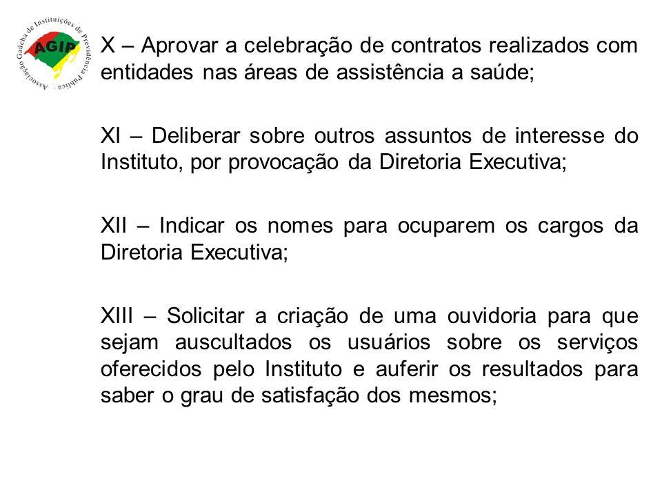 X – Aprovar a celebração de contratos realizados com entidades nas áreas de assistência a saúde;