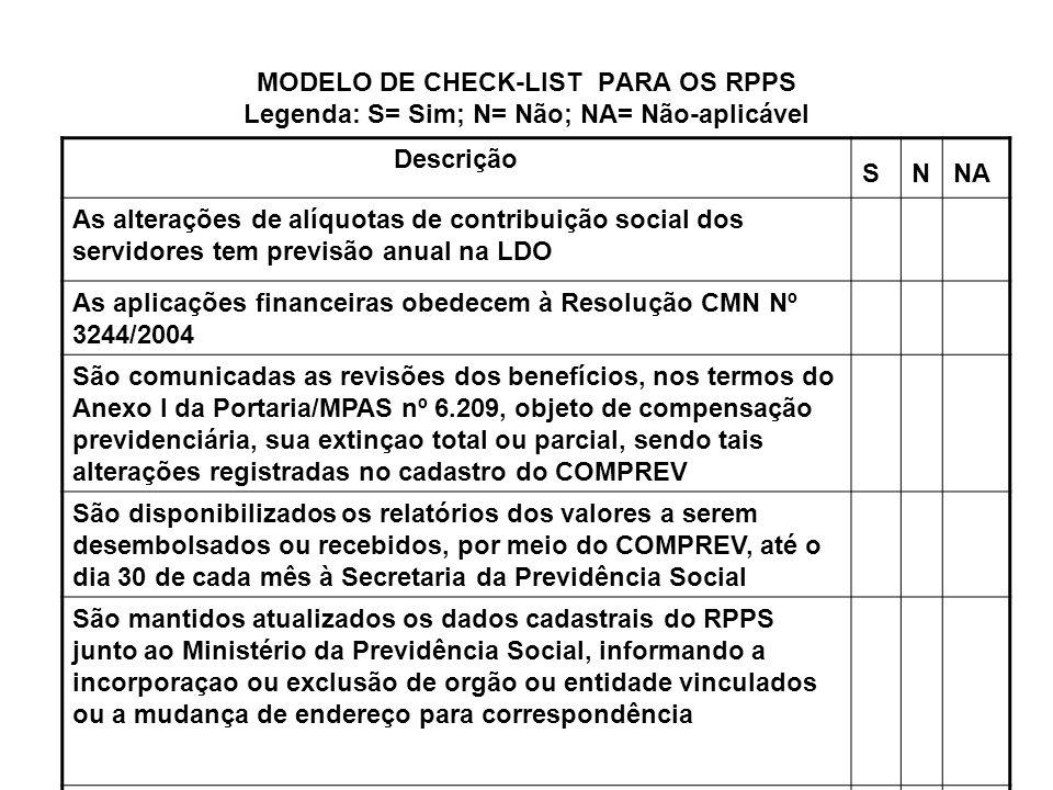 MODELO DE CHECK-LIST PARA OS RPPS Legenda: S= Sim; N= Não; NA= Não-aplicável