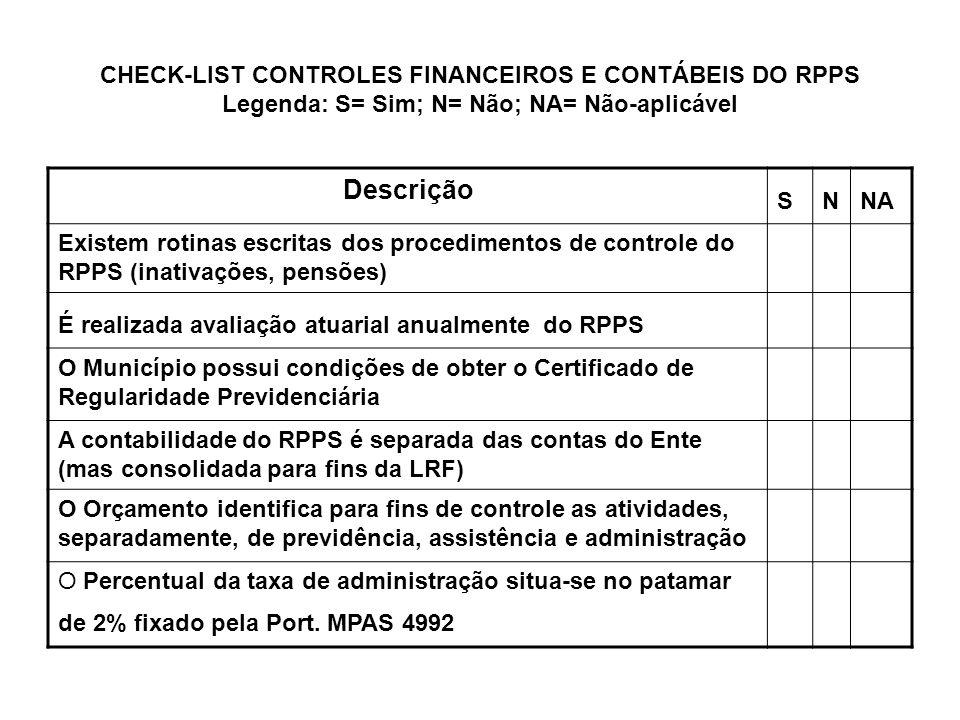 CHECK-LIST CONTROLES FINANCEIROS E CONTÁBEIS DO RPPS Legenda: S= Sim; N= Não; NA= Não-aplicável