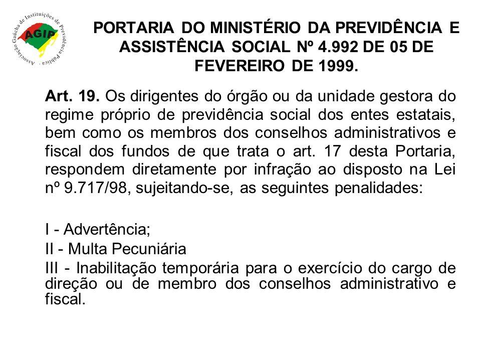 PORTARIA DO MINISTÉRIO DA PREVIDÊNCIA E ASSISTÊNCIA SOCIAL Nº 4