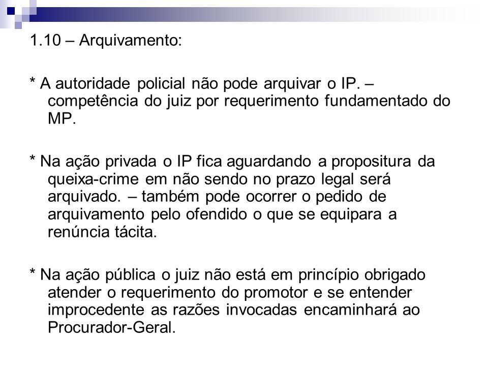 1.10 – Arquivamento: * A autoridade policial não pode arquivar o IP. – competência do juiz por requerimento fundamentado do MP.