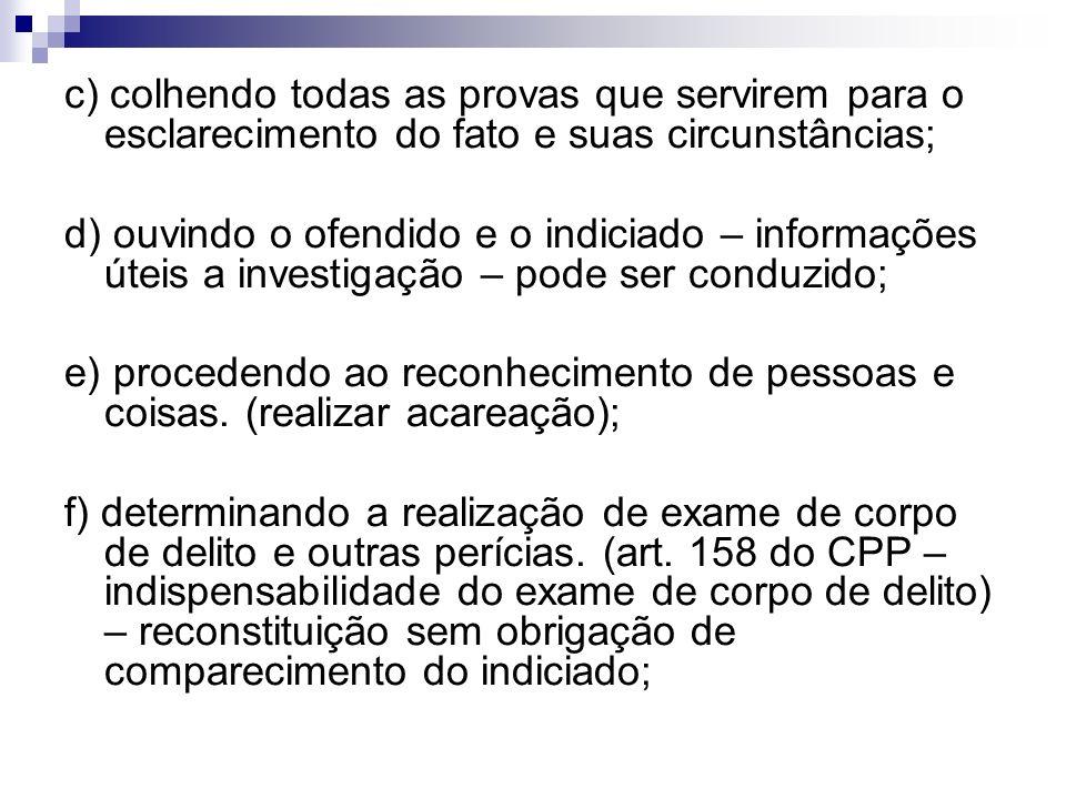 c) colhendo todas as provas que servirem para o esclarecimento do fato e suas circunstâncias;