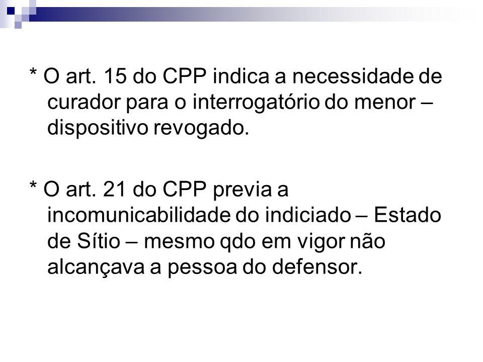 * O art. 15 do CPP indica a necessidade de curador para o interrogatório do menor – dispositivo revogado.