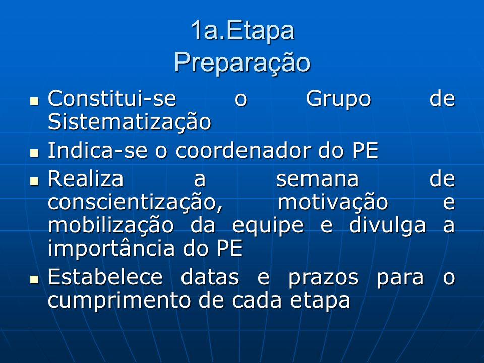 1a.Etapa Preparação Constitui-se o Grupo de Sistematização
