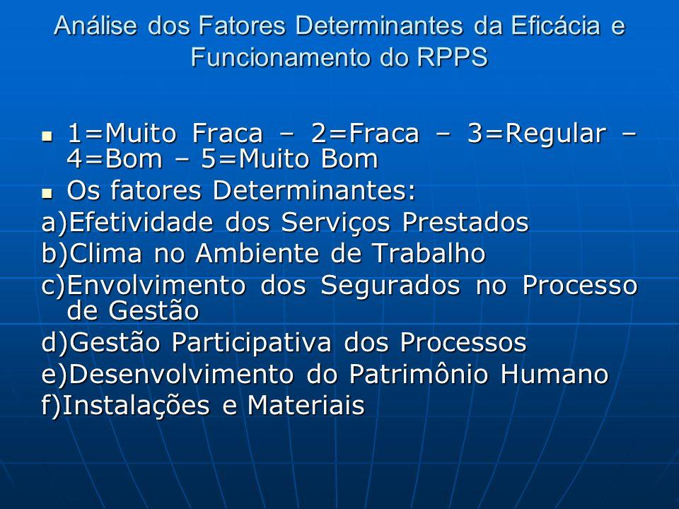 Análise dos Fatores Determinantes da Eficácia e Funcionamento do RPPS