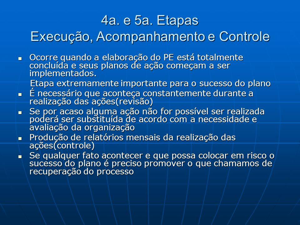 4a. e 5a. Etapas Execução, Acompanhamento e Controle