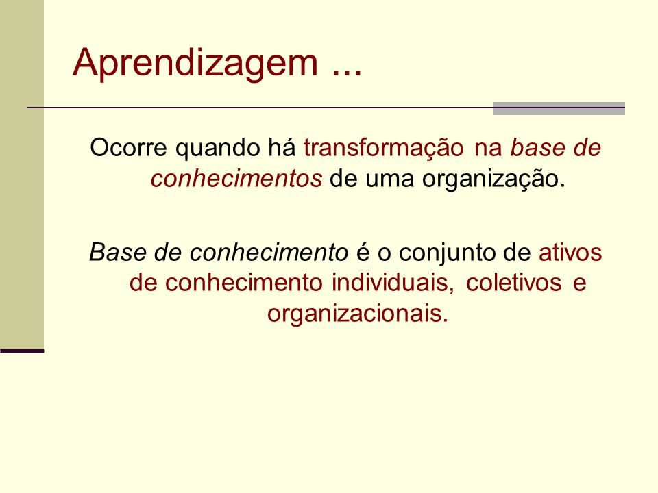 Aprendizagem ... Ocorre quando há transformação na base de conhecimentos de uma organização.