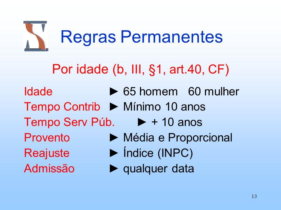 Por idade (b, III, §1, art.40, CF)