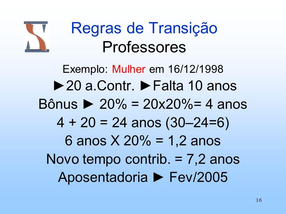 Regras de Transição Professores