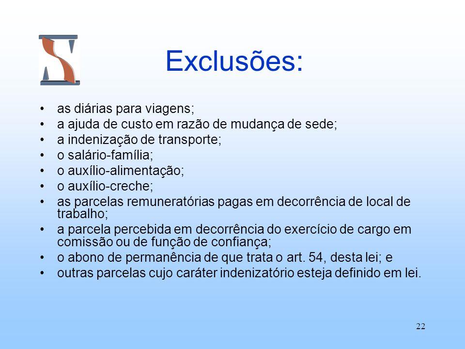 Exclusões: as diárias para viagens;