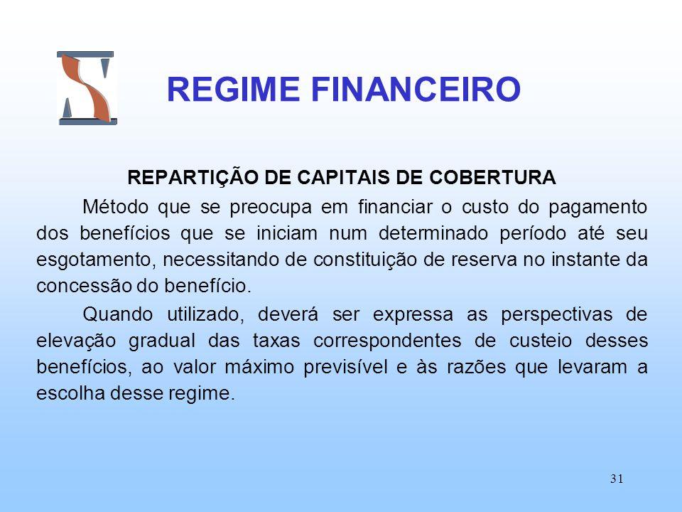 REPARTIÇÃO DE CAPITAIS DE COBERTURA