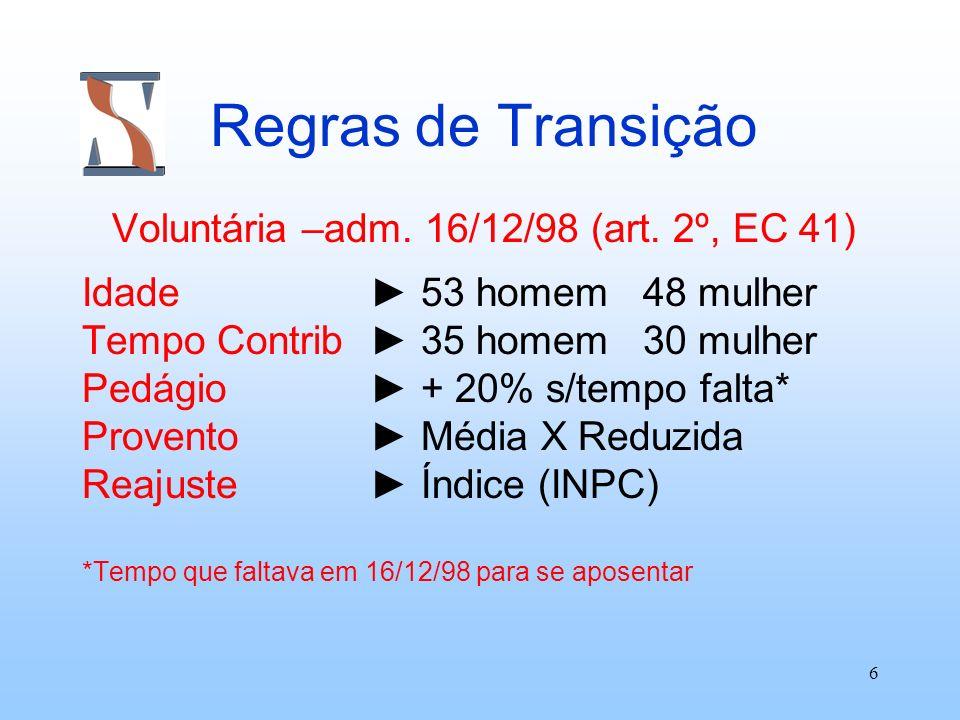 Voluntária –adm. 16/12/98 (art. 2º, EC 41)