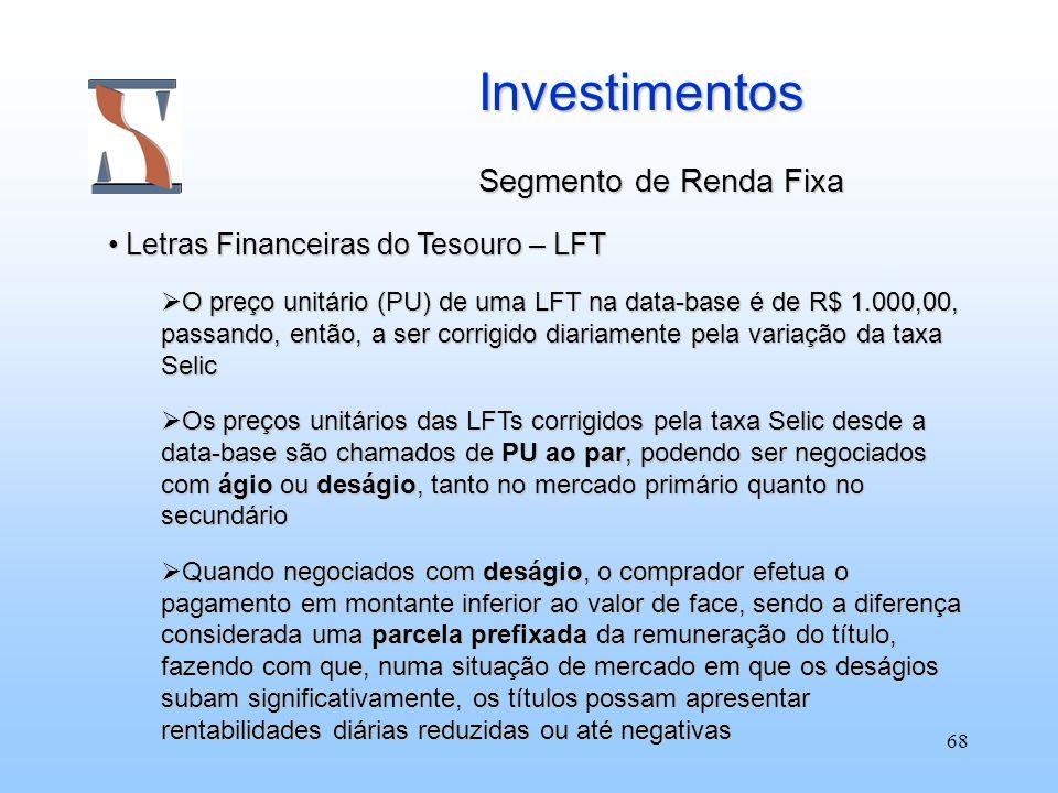 Investimentos Segmento de Renda Fixa