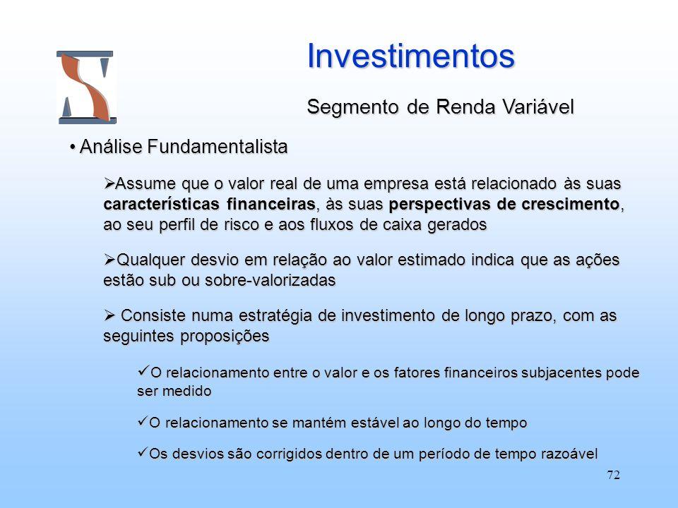 Investimentos Segmento de Renda Variável Análise Fundamentalista